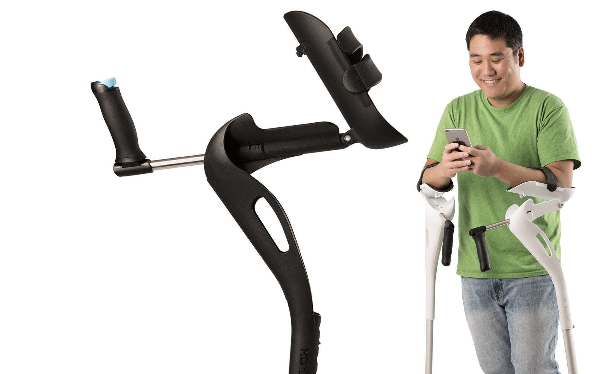 The hinged arm cradle of the M+D Crutch can be unlocked, allowing the user to engage in everyday activities