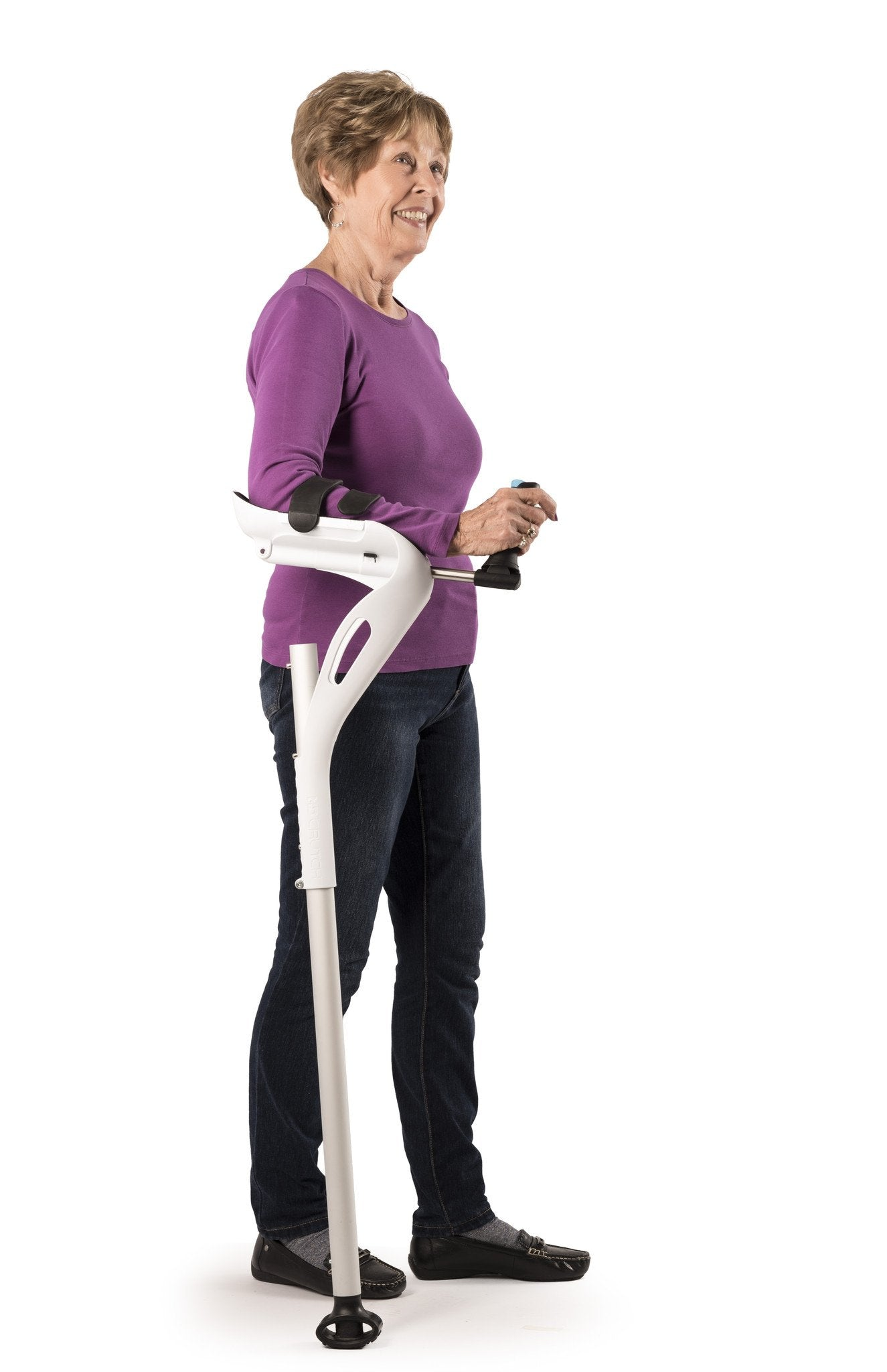 The M+D Crutch is adjustable in both arm length and height from 4'11