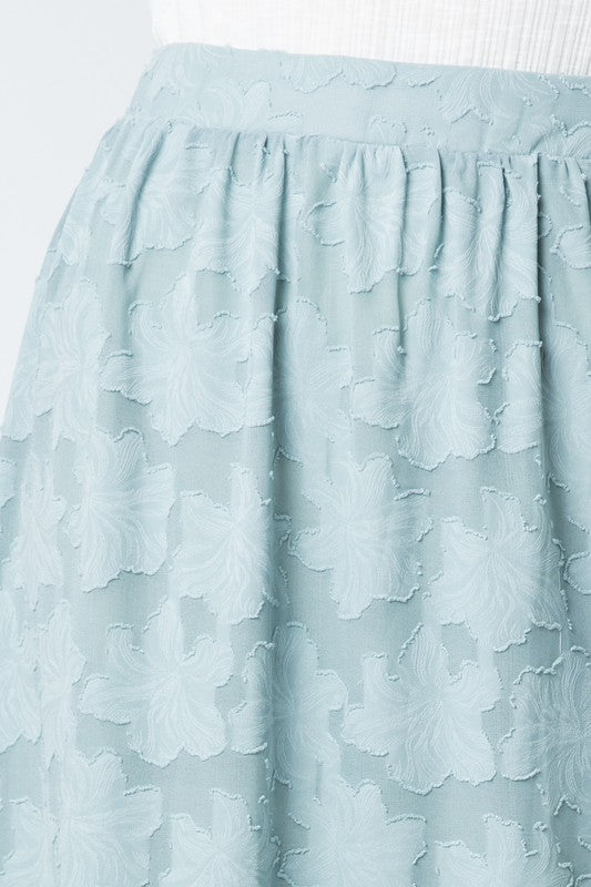 Iris Floral Skirt in Light Blue