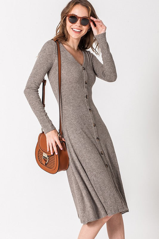 Ruby Button Down Dress in Mocha