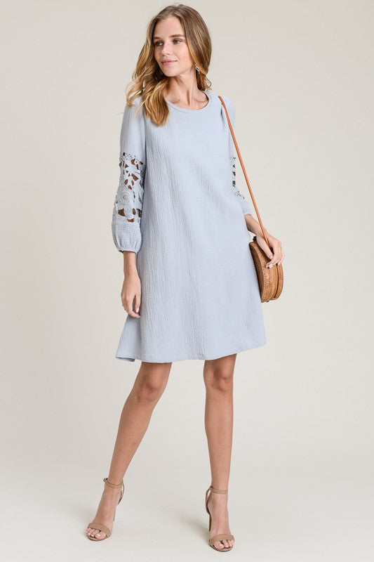 Ava Swing Dress in Dusty Blue