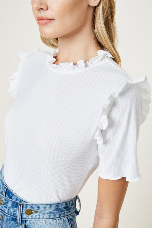 Natalie Ruffle Knit Top
