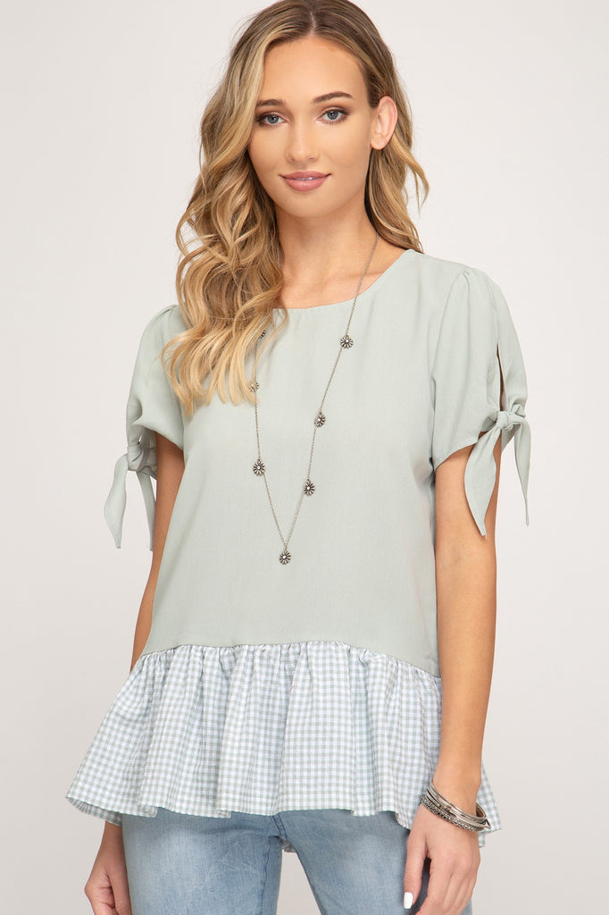 Jayne Peplum Gingham Top