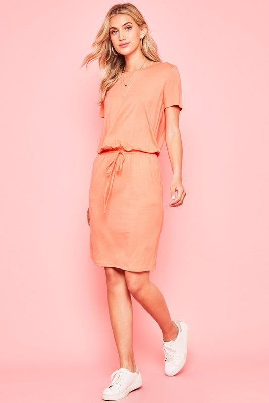 Sierra Basic Midi Dress in Coral
