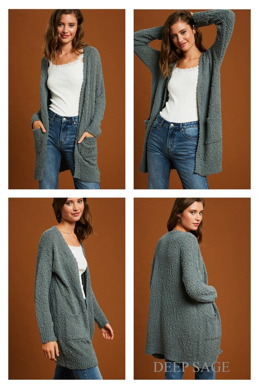 Hailey Popcorn Cardi in Deep Sage