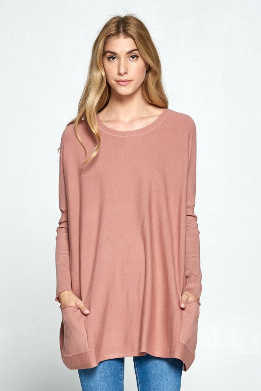 Riley Soft Pullover Sweater in Dusty Rose