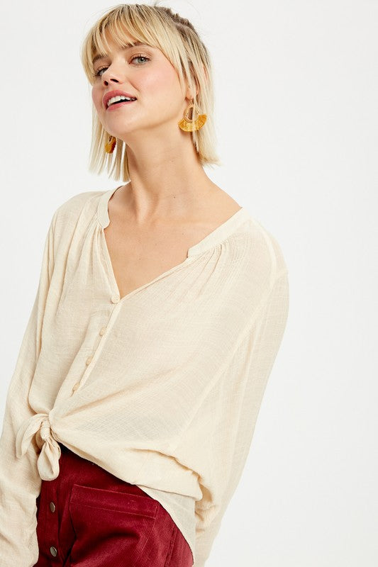 Janet Collar Button Down Top in Natural