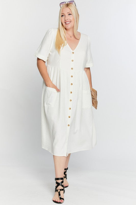 Coleen Linen Dress in Ivory PLUS