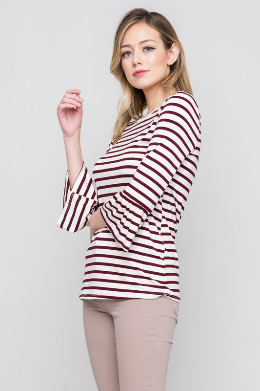 Basic Bell Sleeve Top in Wine
