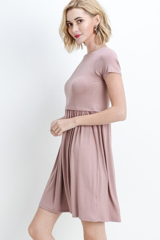 Bailey Loose Shift Dress in Mauve