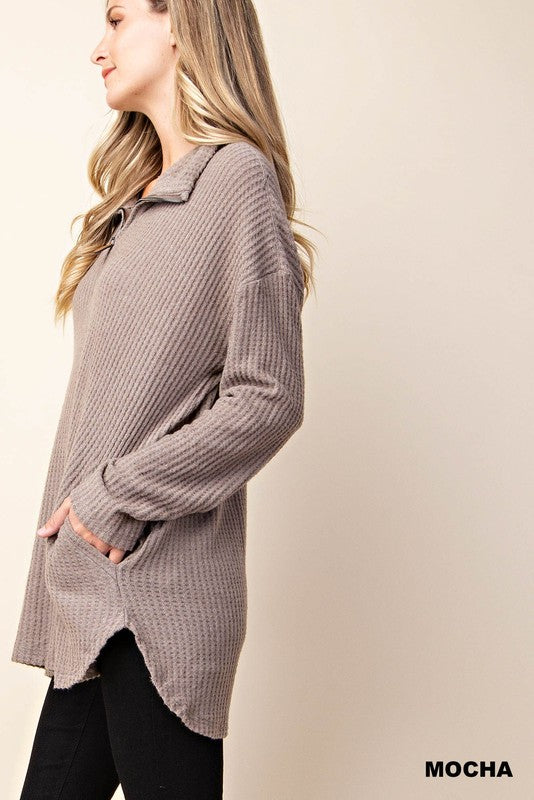 Stacey Waffle Zip Pullover