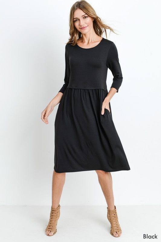 Bailey Loose Shift Fall Dress in Black