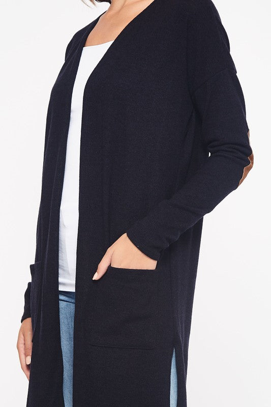 Basic Elbow Patch Cardigan