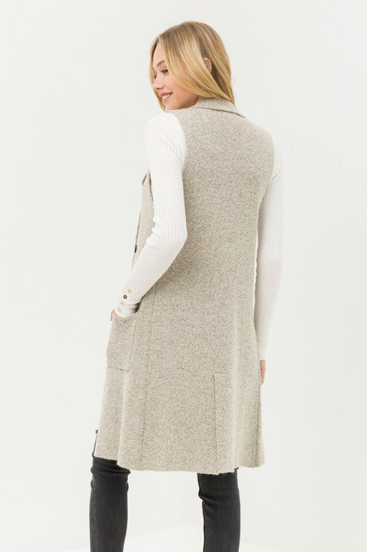 Fall in Love Sleeveless Cardigan in Oatmeal