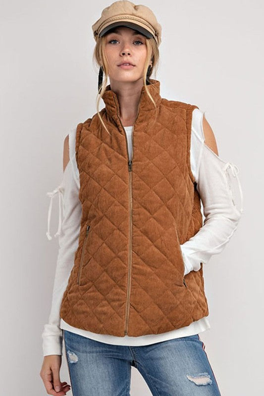 Corduroy Fall Vest in Caramel
