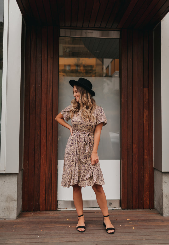 Ivy Dotted Dress in Taupe