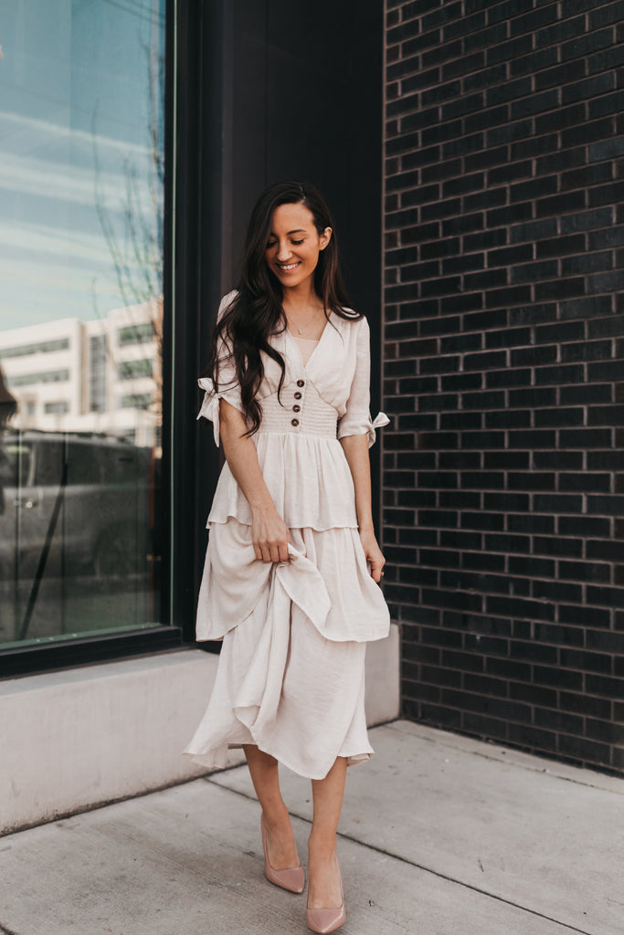Emilia Midi Dress in Champagne