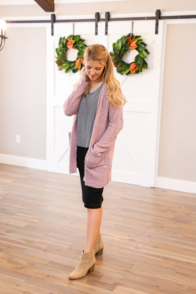 Cozy Up Cardigan in Mauve