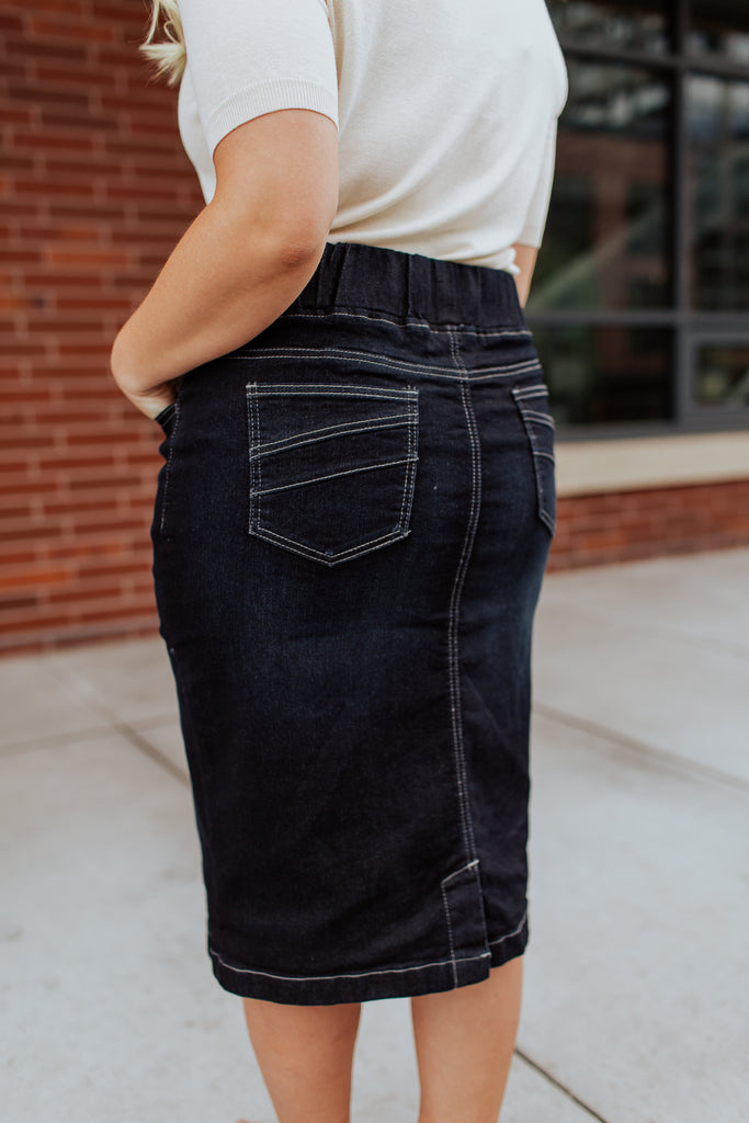All Day Every Day Denim Skirt in  Vintage Wash PLUS SIZE