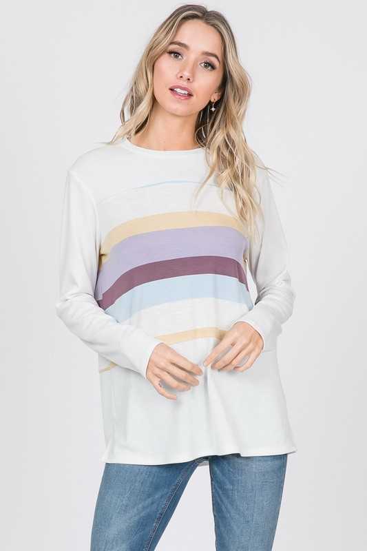 Pastel Colorblock Top in Lavender