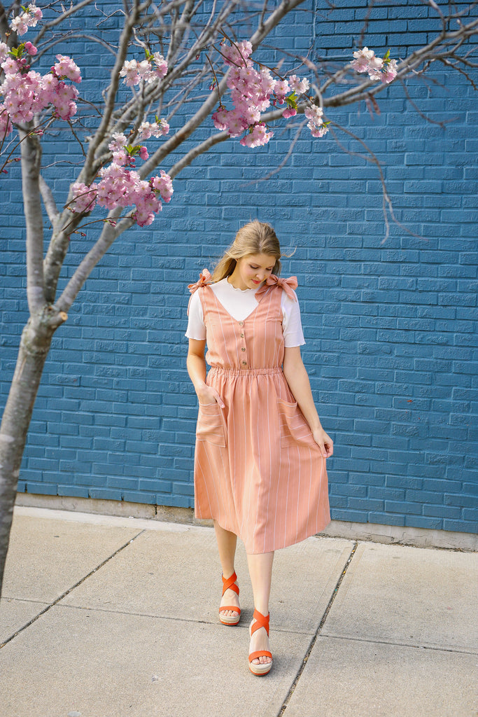 Just Peachy Overall Dress