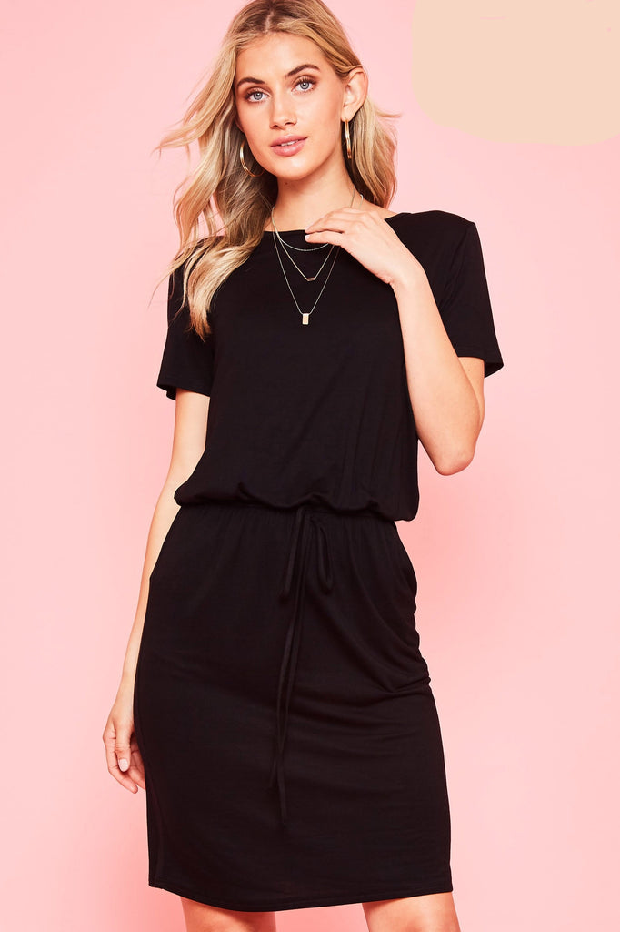 Sierra Basic Midi Dress in Black