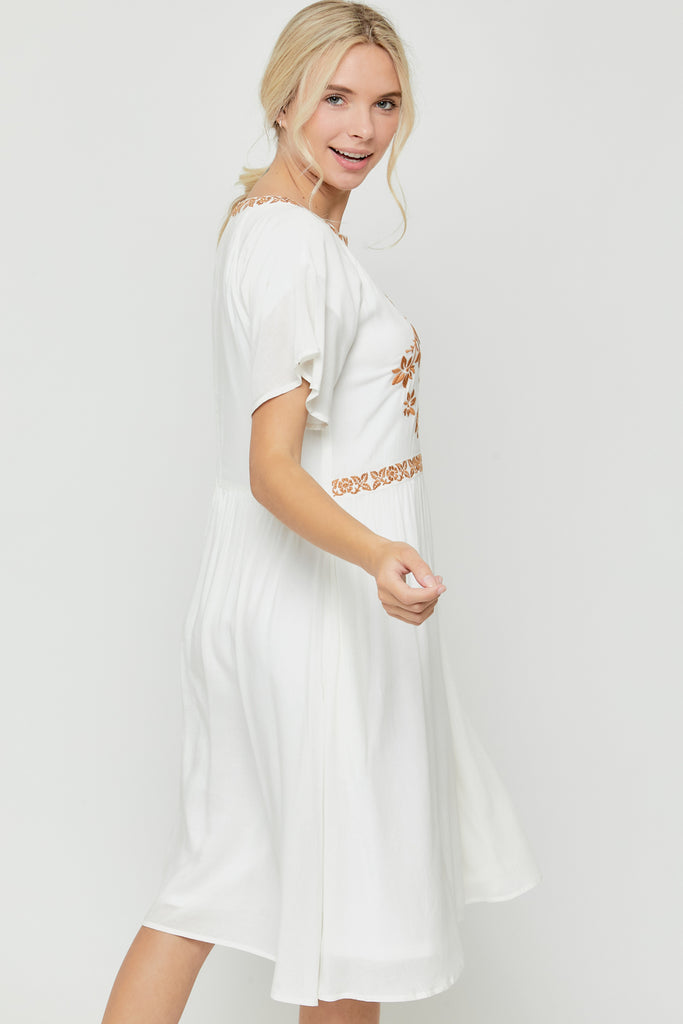 Riley Embroidered Knee Length Dress