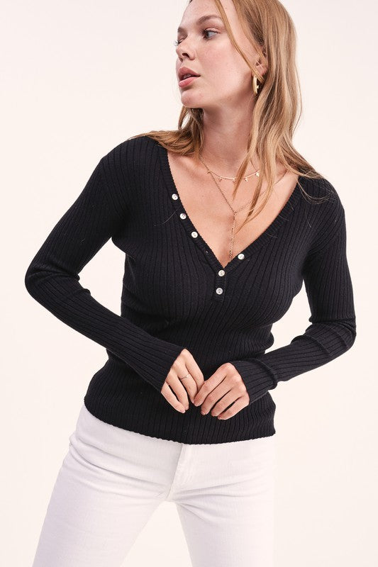 Fall Ribbed Knit in Black