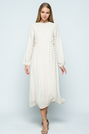 Genevah Long Sleeve Swiss Dot Midi Dress