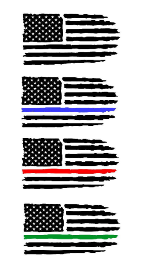 American Flag Distressed Police Fire EMS Thin Blue Line Red Line Green Line