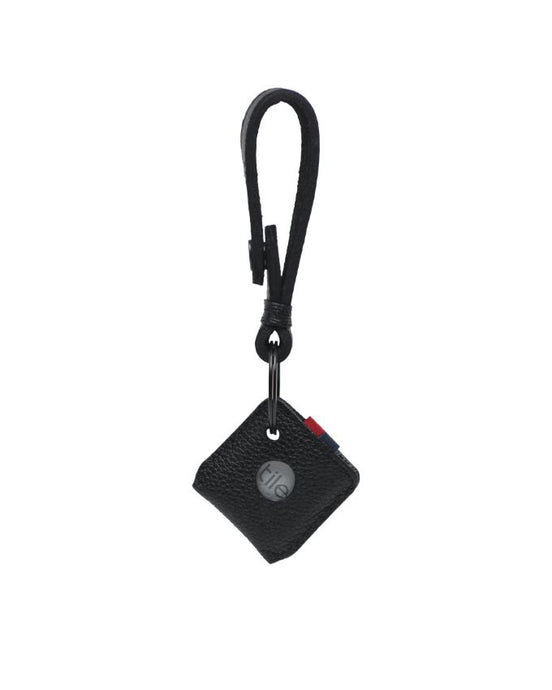 HERSCHEL KEY CHAIN TILE MATE BLACK PEBBLED LEATHER