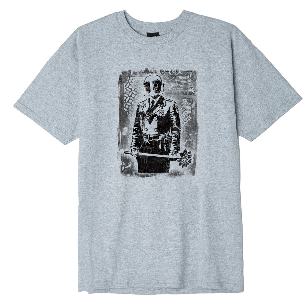 OBEY MY FLORIST ETCHING T-SHIRT HEATHER GREY
