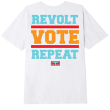 Load image into Gallery viewer, OBEY MENS REVOLT VOTE REPEAT T-SHIRT WHITE