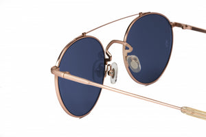 WONDERLAND INDIO ANTIQUE ROSE GOLD BLUE SUNGLASSES