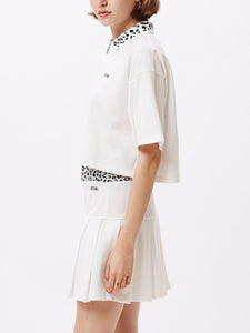 OBEY LIANA CROP POLO WHITE