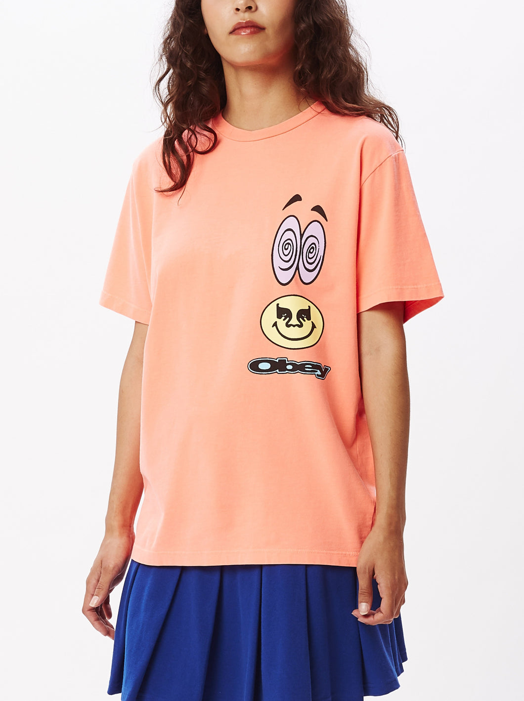 OBEY ACID CRASH T-SHIRT WOMENS NEON ORANGE