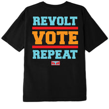Load image into Gallery viewer, OBEY REVOLT VOTE REPEAT WOMEN'S T-SHIRT BLACK