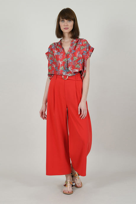 MOLLY BRACKEN PALM TREES SLEEVELESS TOP RED