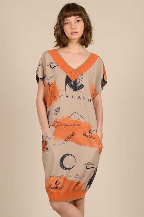 MOLLY BRACKEN PHARAOH PRINTED LOOSE DRESS