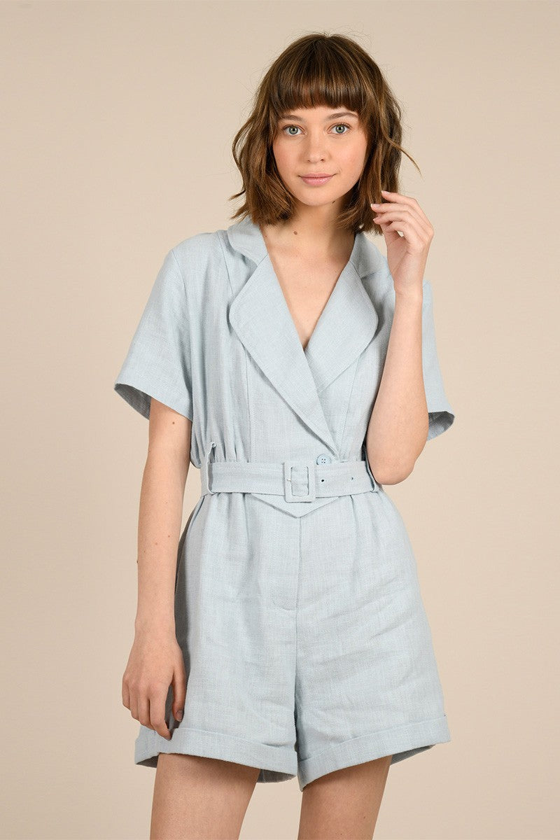 MOLLY BRACKEN BEVERLY CROSSED COLLAR PLAYSUIT