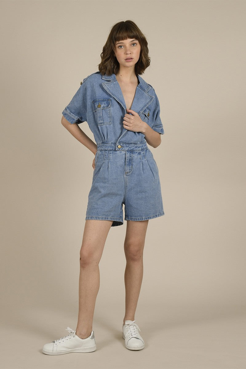 MOLLY BRACKEN DAZED DENIM PLAYSUIT