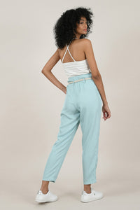 MOLLY BRACKEN BELTED UP HIGH WAIST PANTS MINT