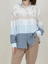 Load image into Gallery viewer, MOLLY BRACKEN NAUTICAL BUTTON UP
