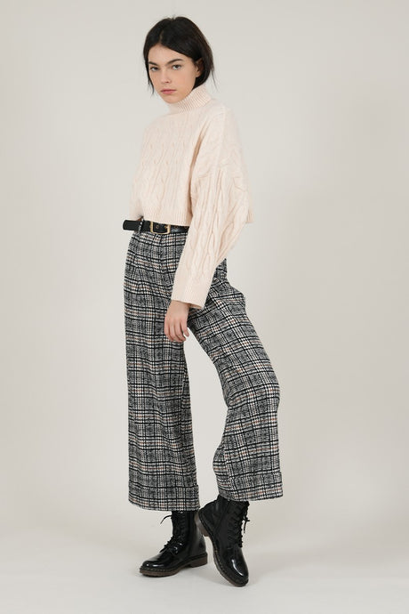 MOLLY BRACKEN PLAID WIDE LEG PANTS