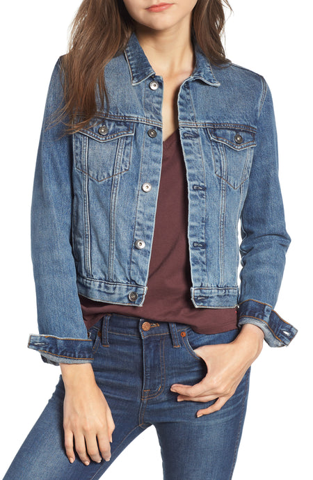 SCOTCH & SODA PLEATED DENIM TRUCKER JACKET