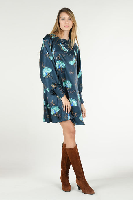 MOLLY BRACKEN PEACOCK PRINTED DRESS