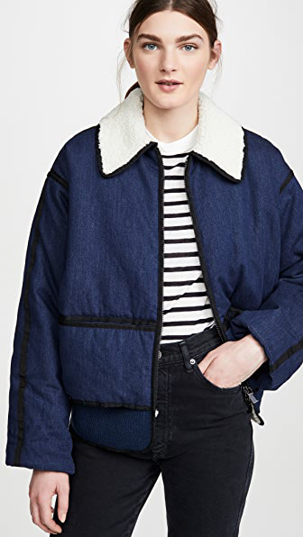 SCOTCH & SODA PADDED DENIM BOMBER JACKET