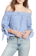 Load image into Gallery viewer, SCOTCH & SODA OFF THE SHOULDER TIE SLEEVE TOP