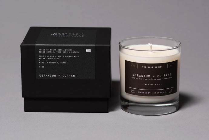 MANREADY MERCANTILE BOLD SERIES GERANIUM + CURRANT SOY CANDLE