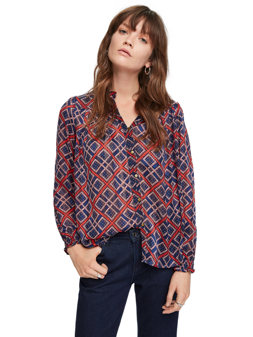 SCOTCH & SODA SHEER PRINTED BLOUSE